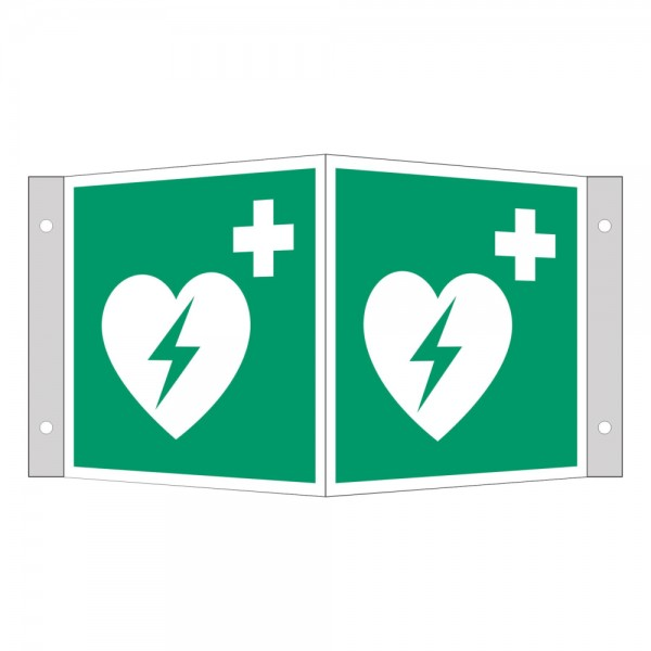 EverGlow Winkelschild Defibrillator AED 15x15cm gem. ASR 1.3